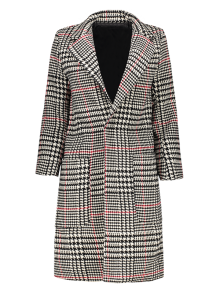Lapel Houndstooth Coat - Black And White And Red M