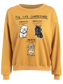 Pug Life Confession Graphic Sweatshirt - Yellow L