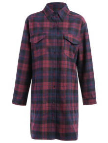 Plaid Flannel Shirt Dress With Pockets
