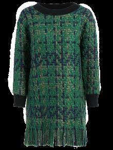 Heathered Fringed Sweater Dress