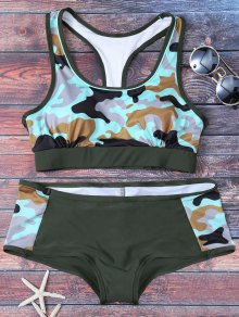 Racerback Camo Swimsuits - Army Green M