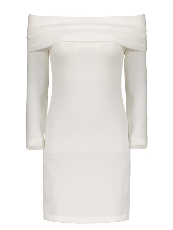 Off the Shoulder Mini Bodycon Party Dress - WHITE M Mobile