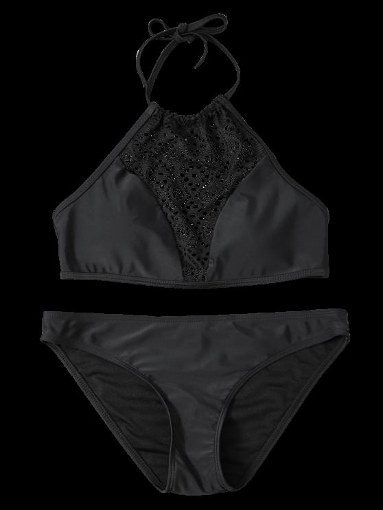 Cut Out Lacework Bikini Set - BLACK L Mobile
