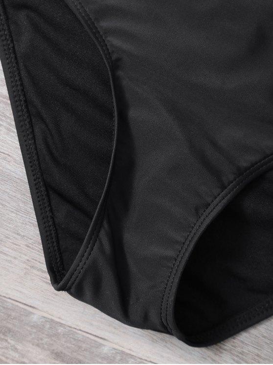 Cut Out Lacework Bikini Set - BLACK S Mobile