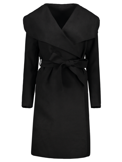 women Shawl Collar Belted Wrap Coat - BLACK S Mobile
