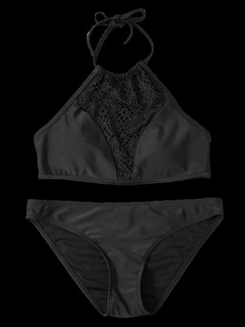outfits Cut Out Lacework Bikini Set - BLACK L Mobile
