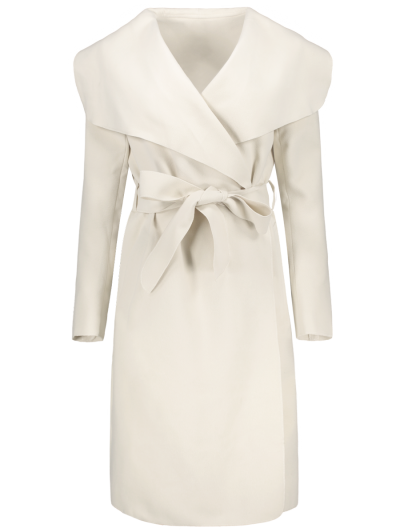 Shawl Collar Belted Wrap Coat - OFF-WHITE M Mobile