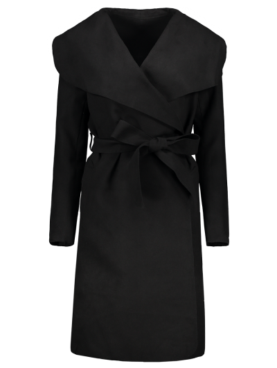 Shawl Collar Belted Wrap Coat - BLACK S Mobile