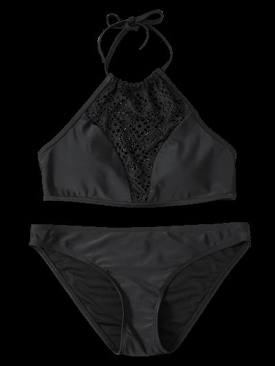 Cut Out Lacework Bikini Set - BLACK XL Mobile