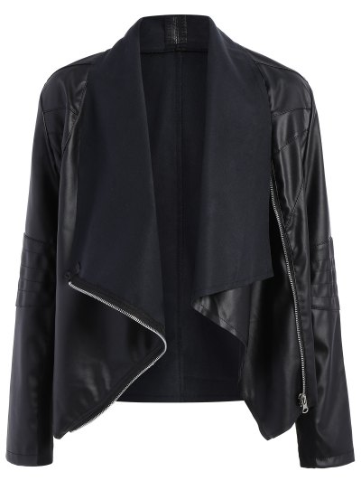 Zippered PU Leather Jacket - Black M
