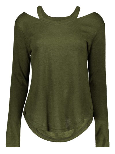 Cut Out Pullover Sweater - ARMY GREEN M Mobile