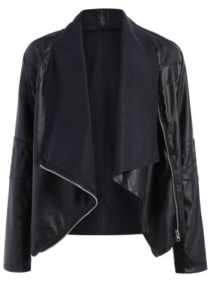 Zippered PU Leather Jacket - Black