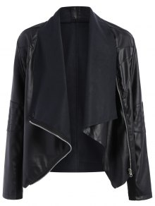 Zippered PU Leather Jacket - Black 4xl