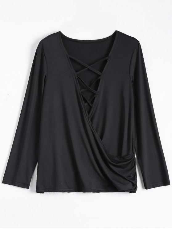 Wrap Cut Out T-Shirt - BLACK L Mobile