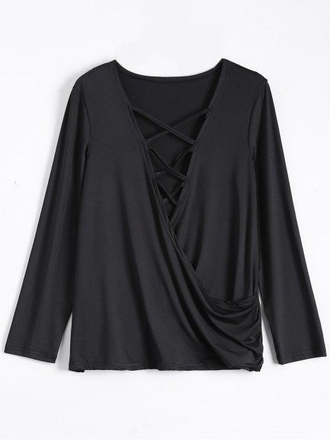 shops Wrap Cut Out T-Shirt - BLACK L Mobile