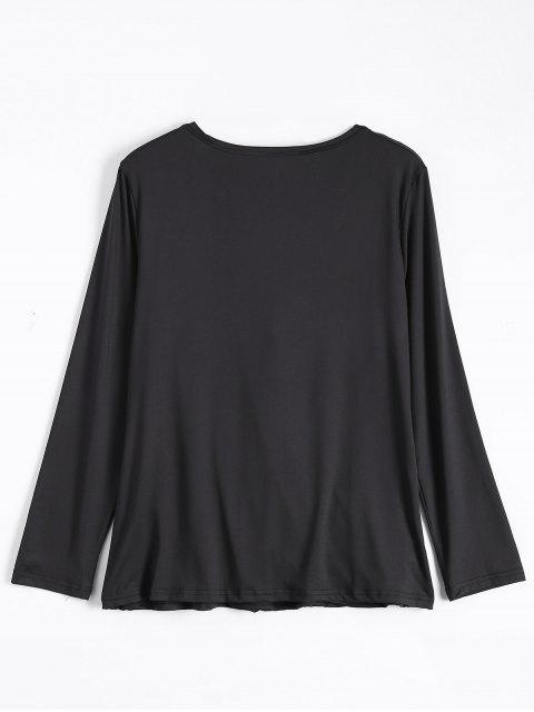 affordable Wrap Cut Out T-Shirt - BLACK M Mobile