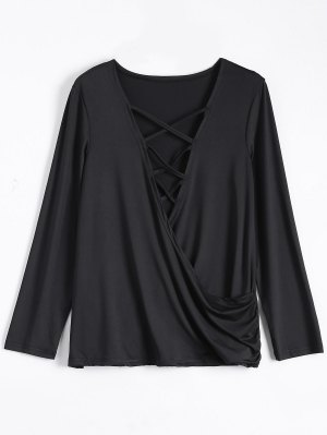 Wrap Cut Out T-Shirt - Black
