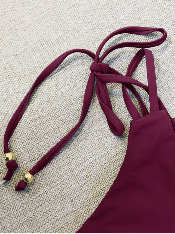 Plunge Bikini Top and Thong Bikini Bottoms - WINE RED L Mobile