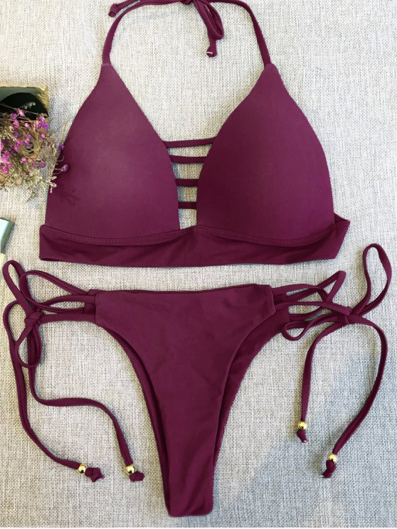 Plunge Bikini Top and Thong Bikini Bottoms - WINE RED M Mobile