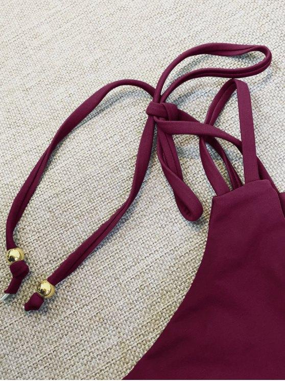 Plunge Bikini Top and Thong Bikini Bottoms - WINE RED M Mobile