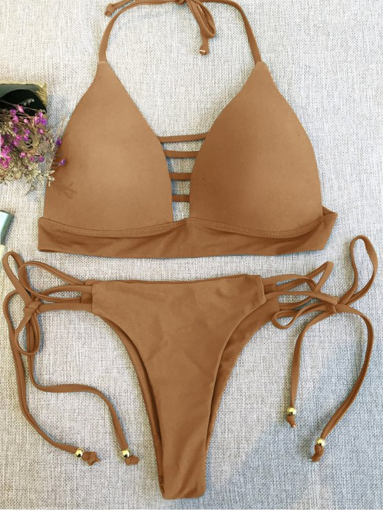 Plunge Bikini Top and Thong Bikini Bottoms - LIGHT COFFEE L Mobile