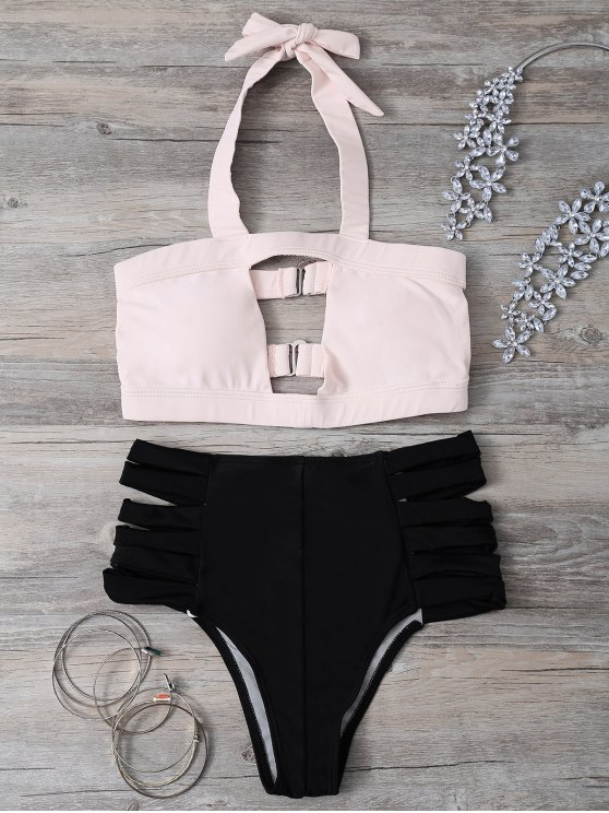 outfits Hollow Out Bandage Halter Bikini Set - LIGHT PINK S