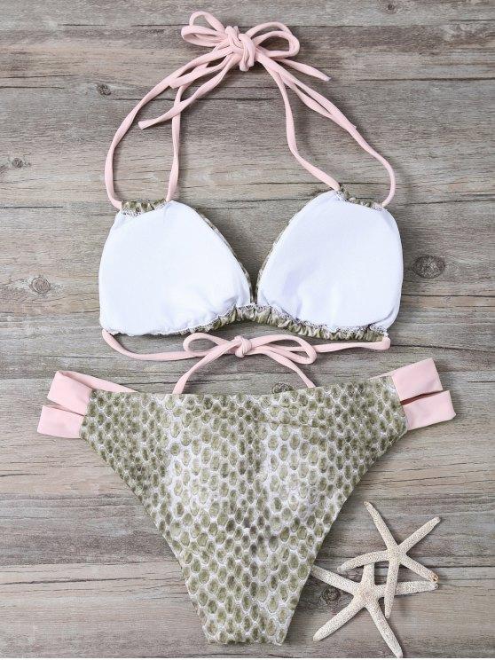 Snakeskin Print Bowknot Embellished String Bikini - PINK L Mobile