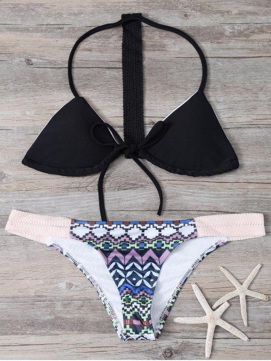 Halter Bikini Conjunto Mujeres Modelo Geométrico - Negro L