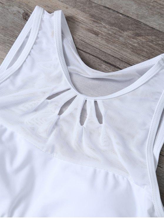 Mesh Panle High Neck Bikini - WHITE L Mobile