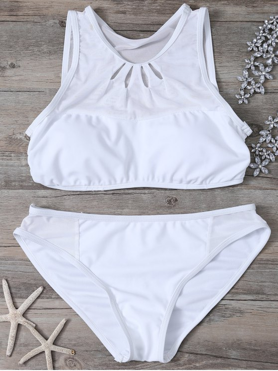 Ahueca hacia fuera de cuello alto Bikini Set - Blanco L