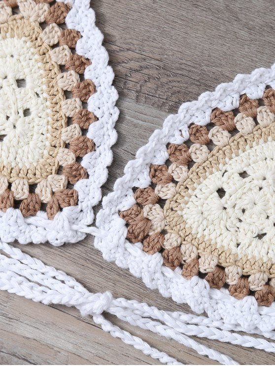 Crochet Tasselled Bikini - OFF-WHITE ONE SIZE(FIT SIZE XS TO M) Mobile