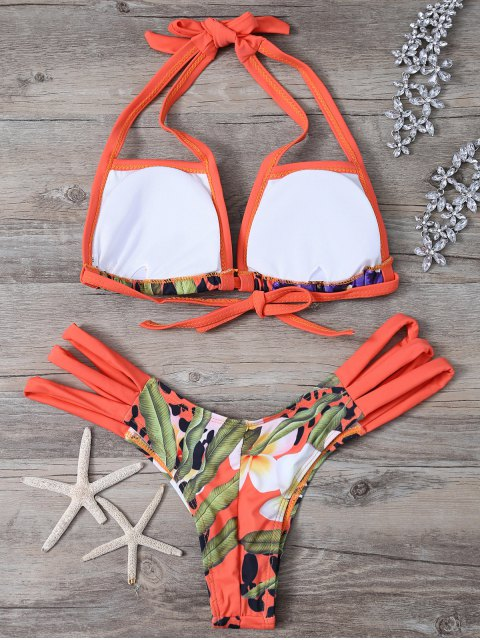 chic Printed Cut Out Bikini Set - COLORMIX M Mobile