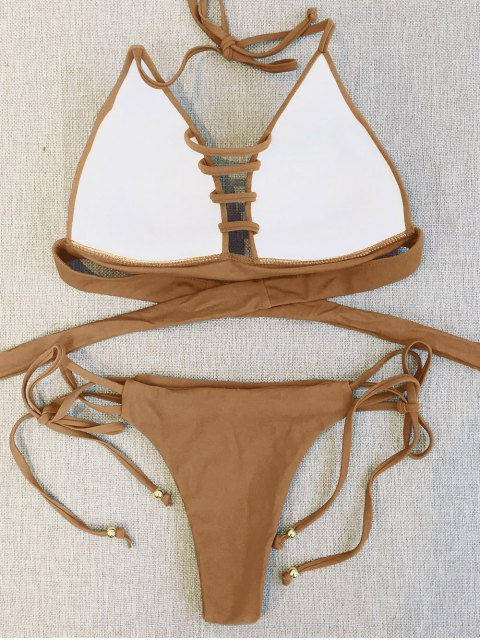 shops Plunge Bikini Top and Thong Bikini Bottoms - LIGHT COFFEE L Mobile