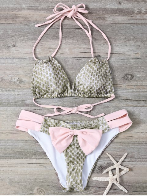 womens Snakeskin Print Bowknot Embellished String Bikini - PINK M Mobile