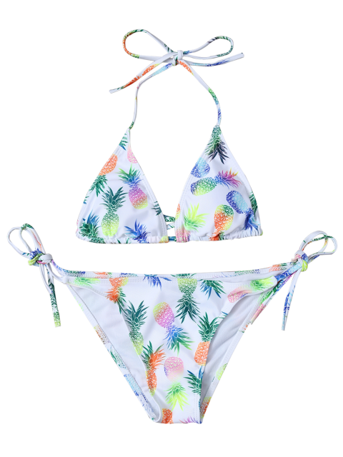 fancy Pineapple Printed Halter Bathing Suit - COLORMIX XL Mobile
