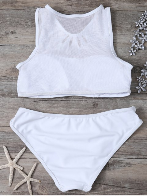 best Mesh Panle High Neck Bikini - WHITE L Mobile