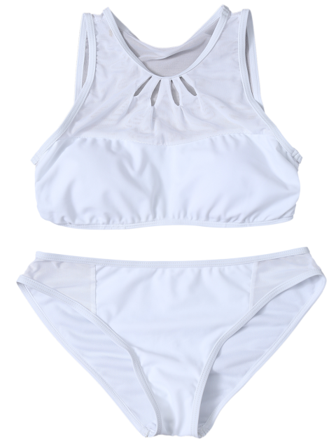 best Mesh Panle High Neck Bikini - WHITE L Mobile
