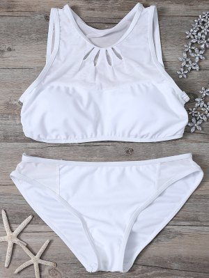 Mesh Panle High Neck Bikini - White