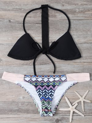 Geometric Pattern Halter Bikini Set - Black M