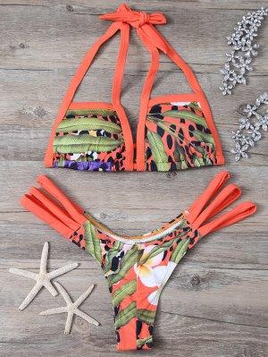 Printed Cut Out Bikini Set