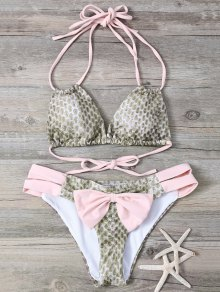 Snakeskin Imprimer Bowknot Agrémentée Bikini String - Rose Pâle