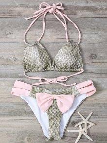 Snakeskin Print Bowknot Embellished String Bikini - Pink