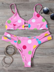 Polka Dot Bikini Set With Ladder Detail - Pink