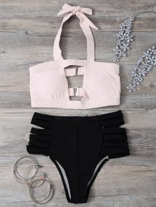 Hollow Out Bandage Halter Bikini Set - Light Pink S