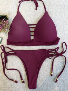 Plunge Bikini Top And Thong Bikini Bottoms - Wine Red L