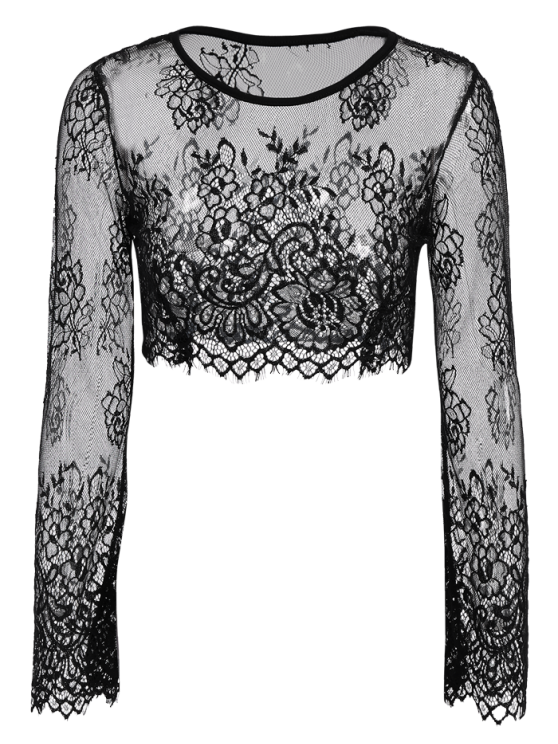 Black Lace Long Sleeve See-Through Crop Top - BLACK S Mobile