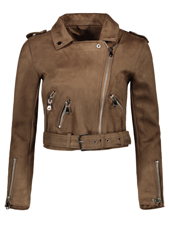 fashion Lapel Zipper Pockets Suede Jacket - KHAKI M