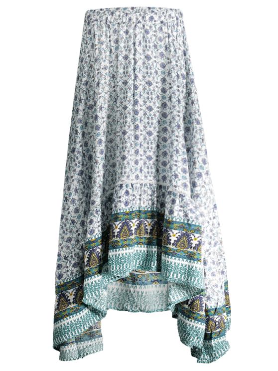 outfit Patterned High Low Maxi Boho Skirt - WHITE M