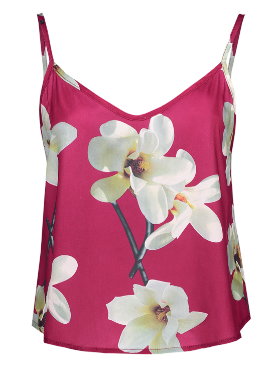 unique Adjusted Floral Satin Camisole - RED S