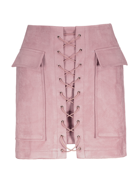 Lace Up Faux Suede Mini Skirt - PINK L Mobile